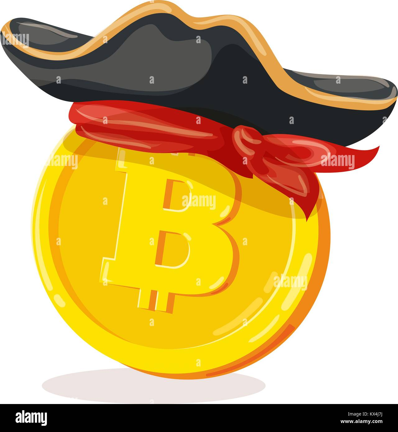 Bitcoin in pirate hat  Cartoon digital currency  Gold