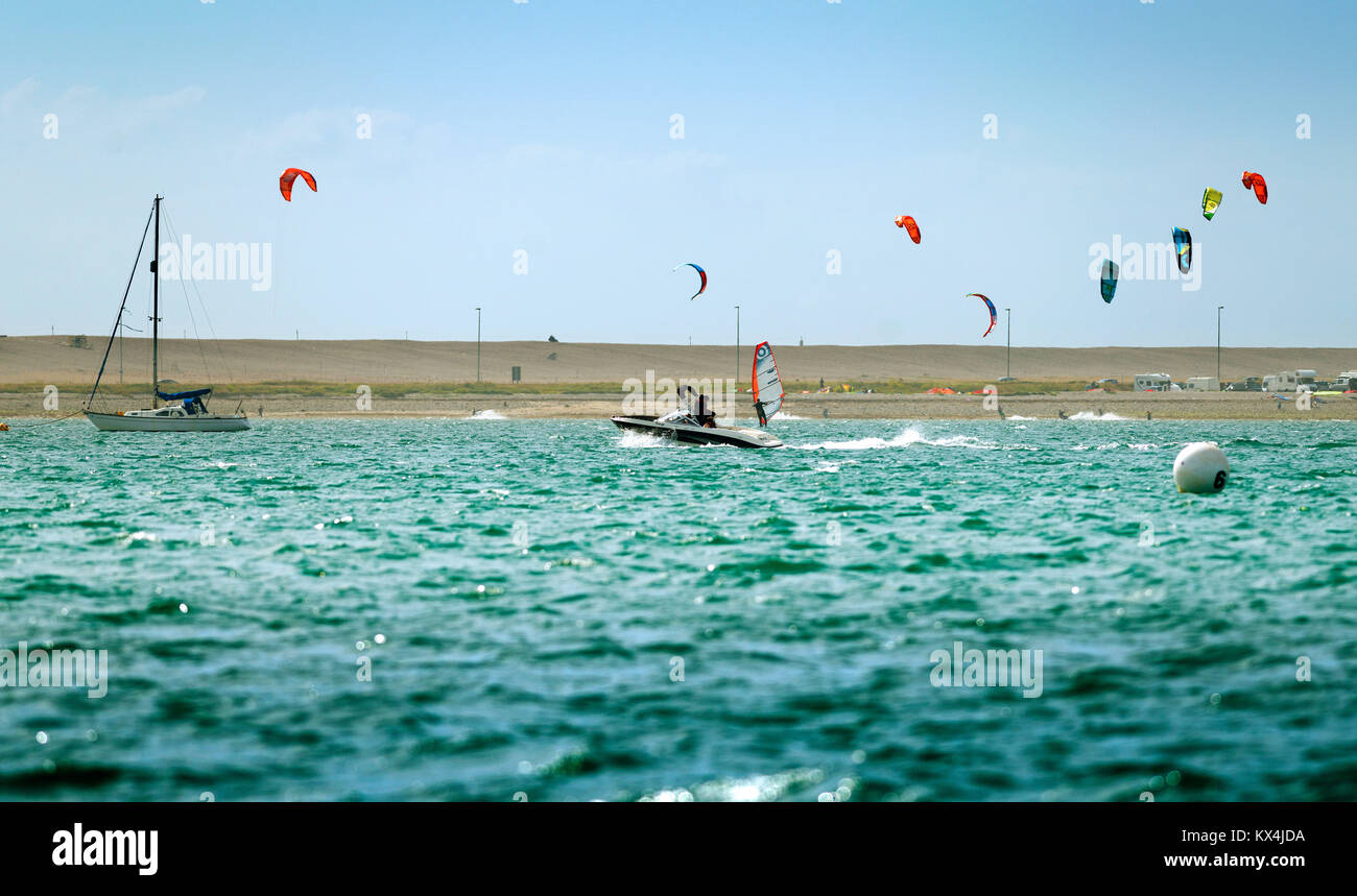 Kitesurfers in Portland Harbour, Dorset, UK - Stock Image