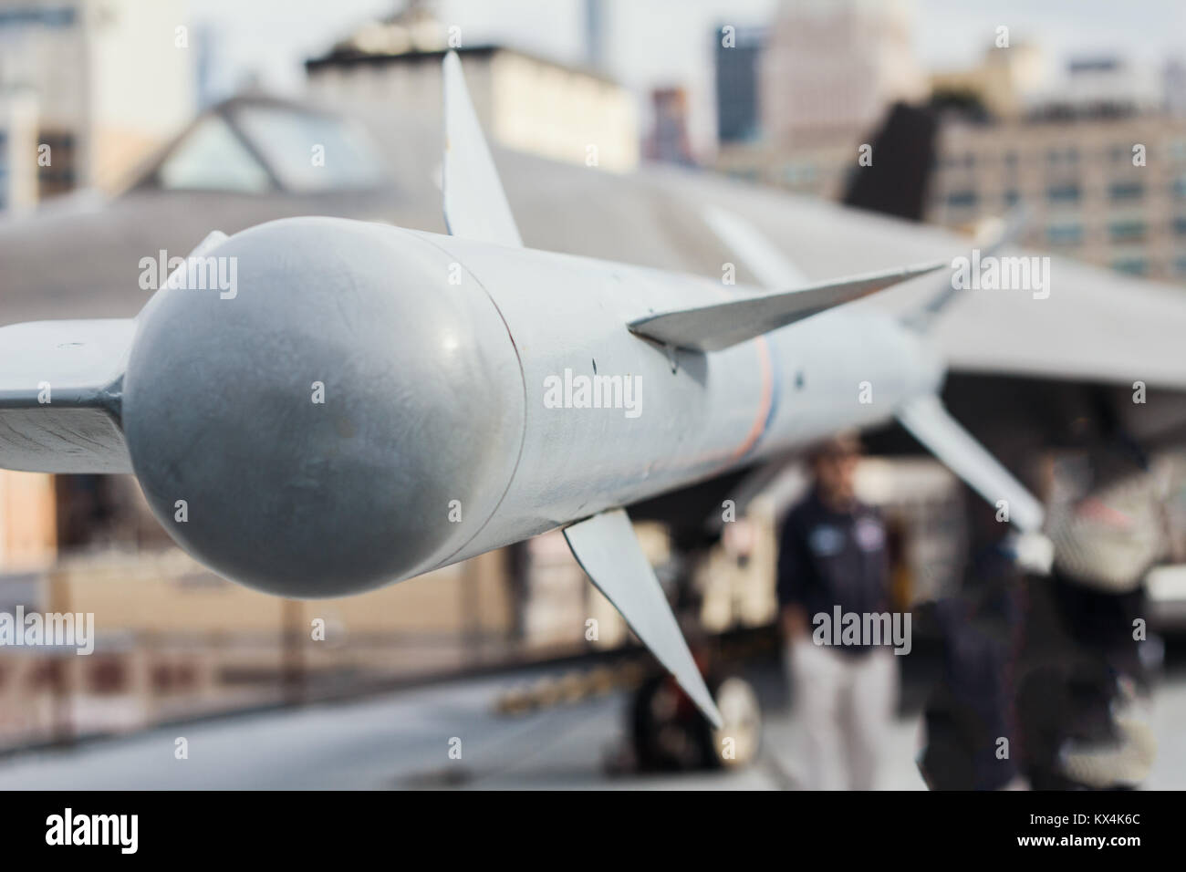 The missile air-air suspended under the wing of battle aircraft - Stock Image