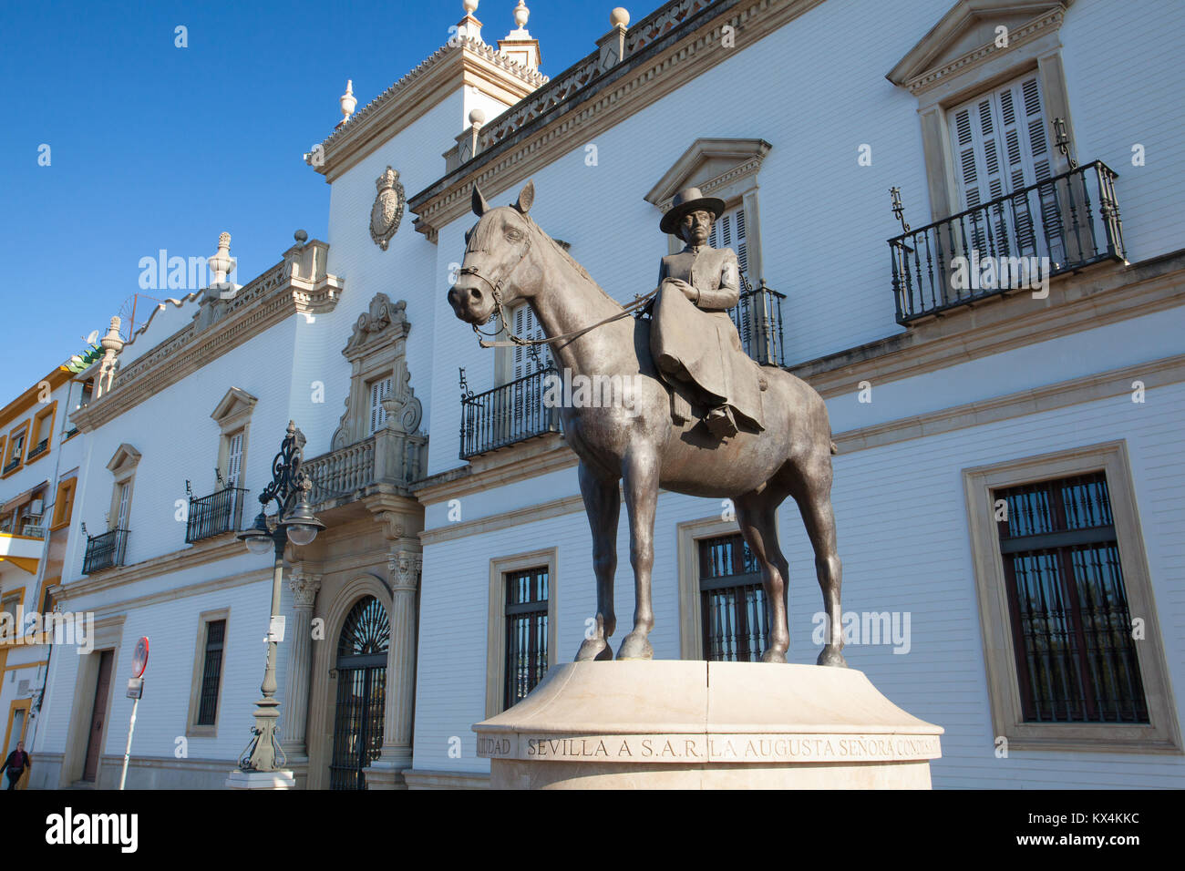 Seville, Spain - November 19,2016: Bullfight arena.View of the facade of Real Maestranza de Caballeria and the monument - Stock Image
