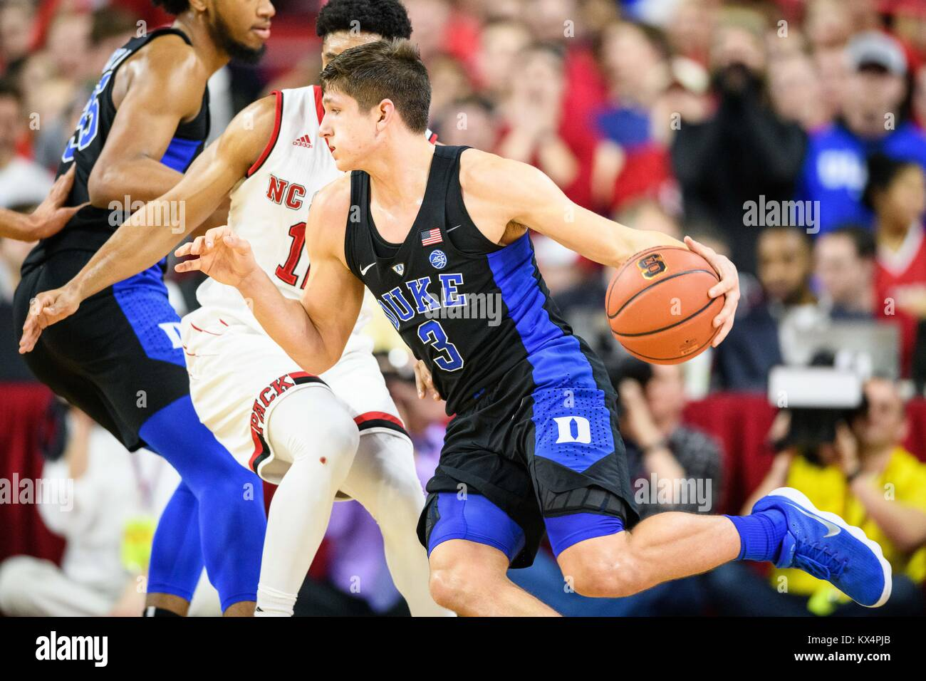 c88bca5403f0 Duke Blue Devils guard Grayson Allen (3) during the NCAA College Basketball  game between the Duke Blue Devils and the NC State Wolfpack at PNC Arena on  ...