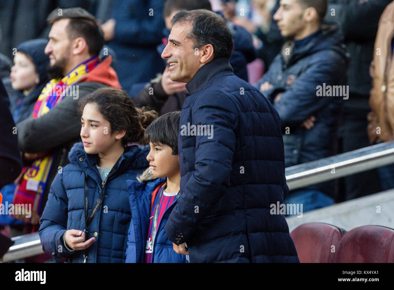 Barcelona, Spain. 07th Jan, 2018. Marc Gene, expilot of F! during the match between FC Barcelona against Levante - Stock Image