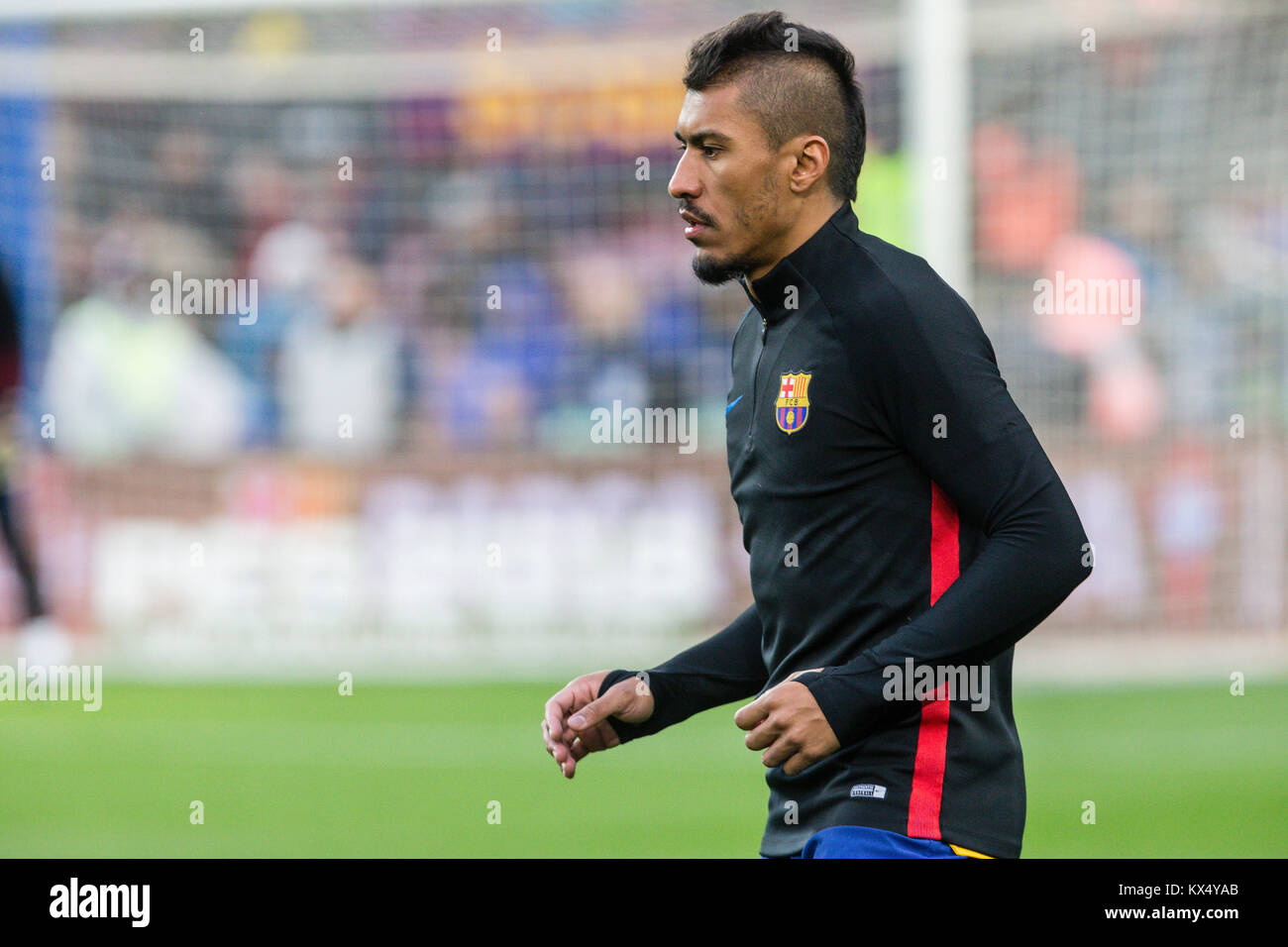 Barcelona, Spain. 07th Jan, 2018. FC Barcelona midfielder Paulinho (15) during the match between FC Barcelona against - Stock Image