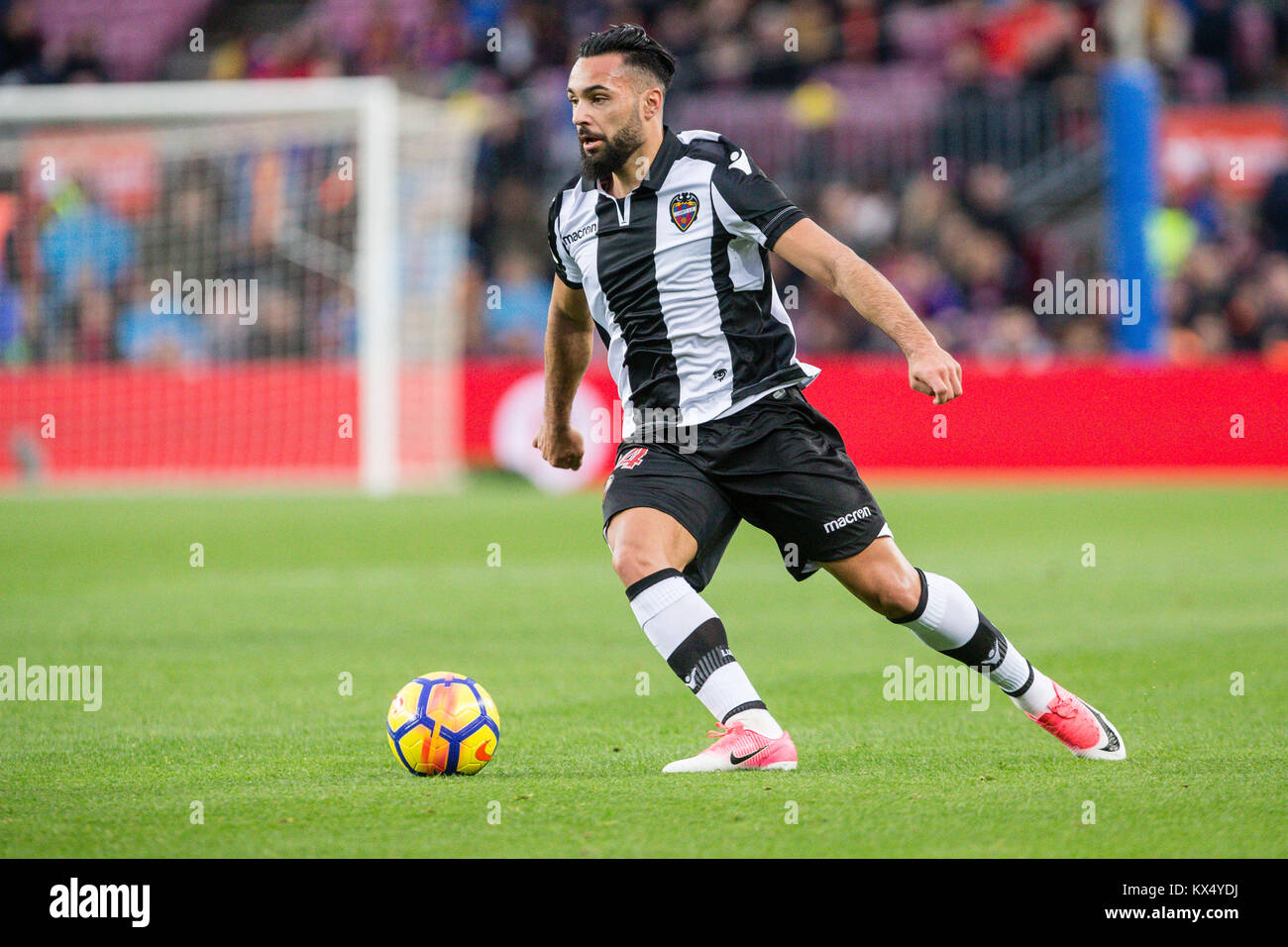 Barcelona, Spain. 07th Jan, 2018. Levante UD midfielder Ivi (14) during the match between FC Barcelona against Levante - Stock Image