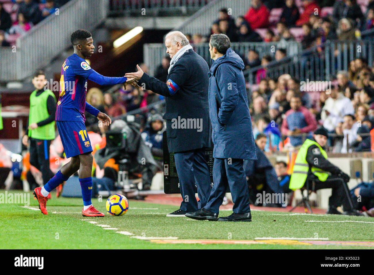 Barcelona, Spain. 07th Jan, 2018. FC Barcelona forward Ousmane Dembele (11) during the match between FC Barcelona - Stock Image