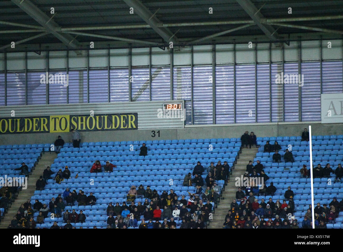 Coventry, UK. Jan, 2018. during the Aviva Premiership round13 game between Wasps and Saracens rfc at the Ricoh Arena. - Stock Image