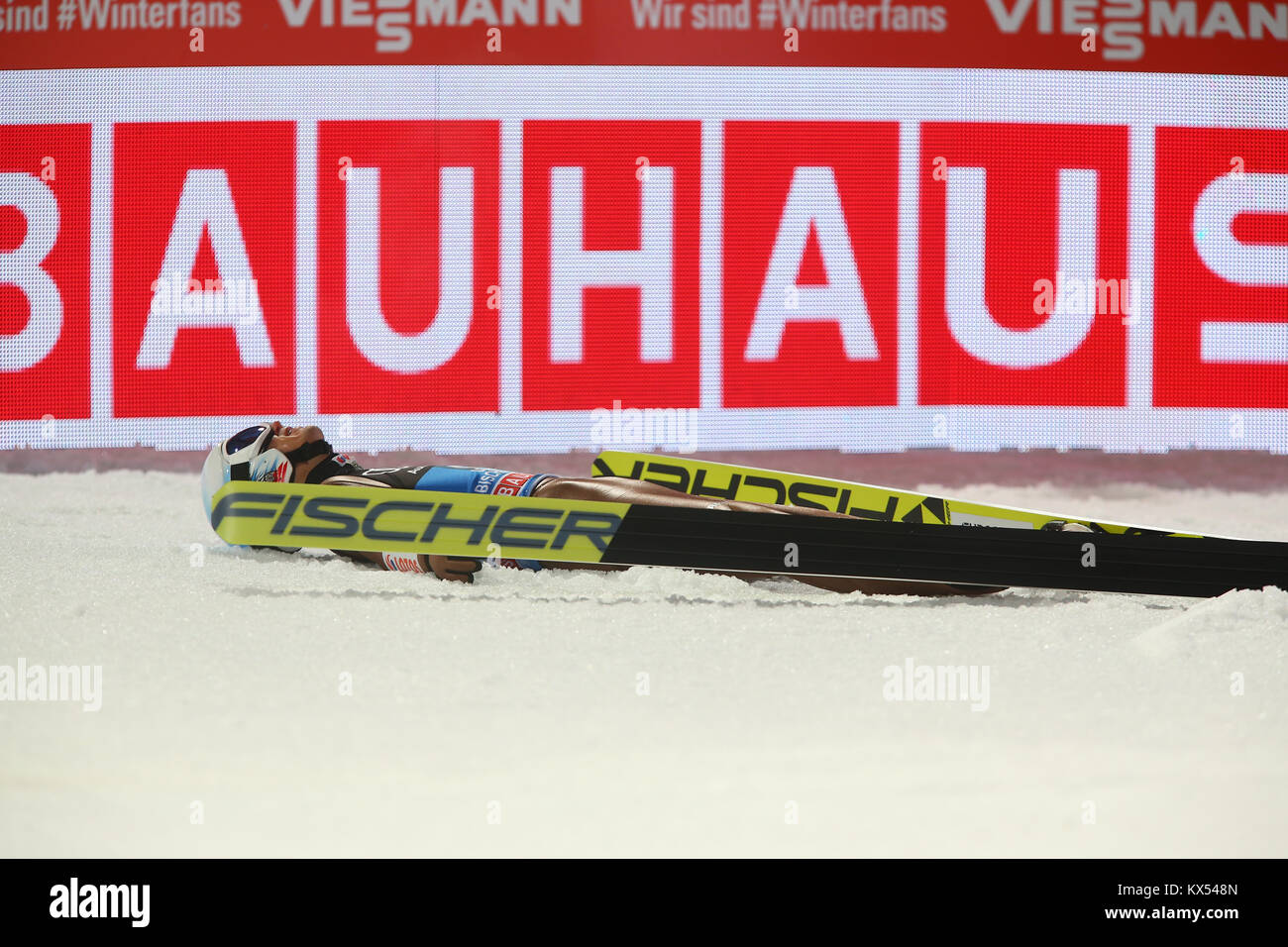 Bischofshofen, Austria. 06th, Jan 2018. Poland's Kamil Stoch reacts after winning the FIS Nordic World Cup 66th - Stock Image