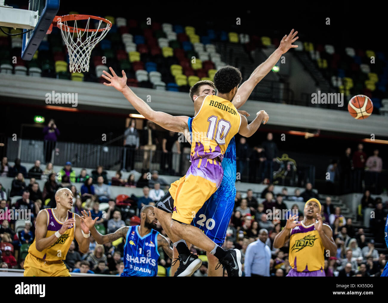 Copper Box Arena, London, UK, 7th Jan 2018.  London Lions v Sheffield Sharks British Basketball League game in the - Stock Image