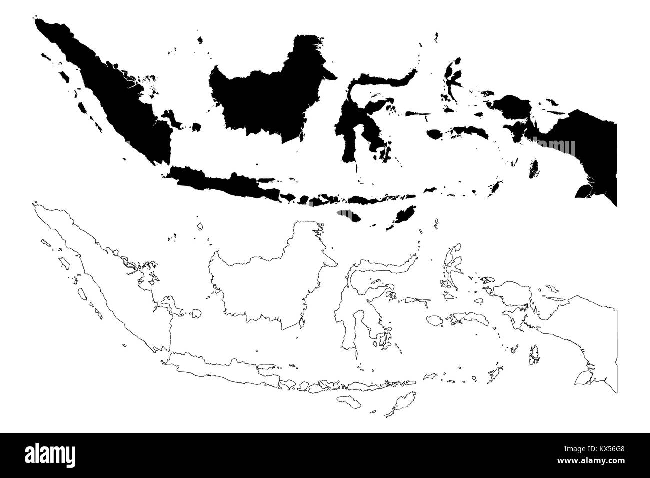 Indonesia map vector illustration, scribble sketch Republic of Indonesia - Stock Image