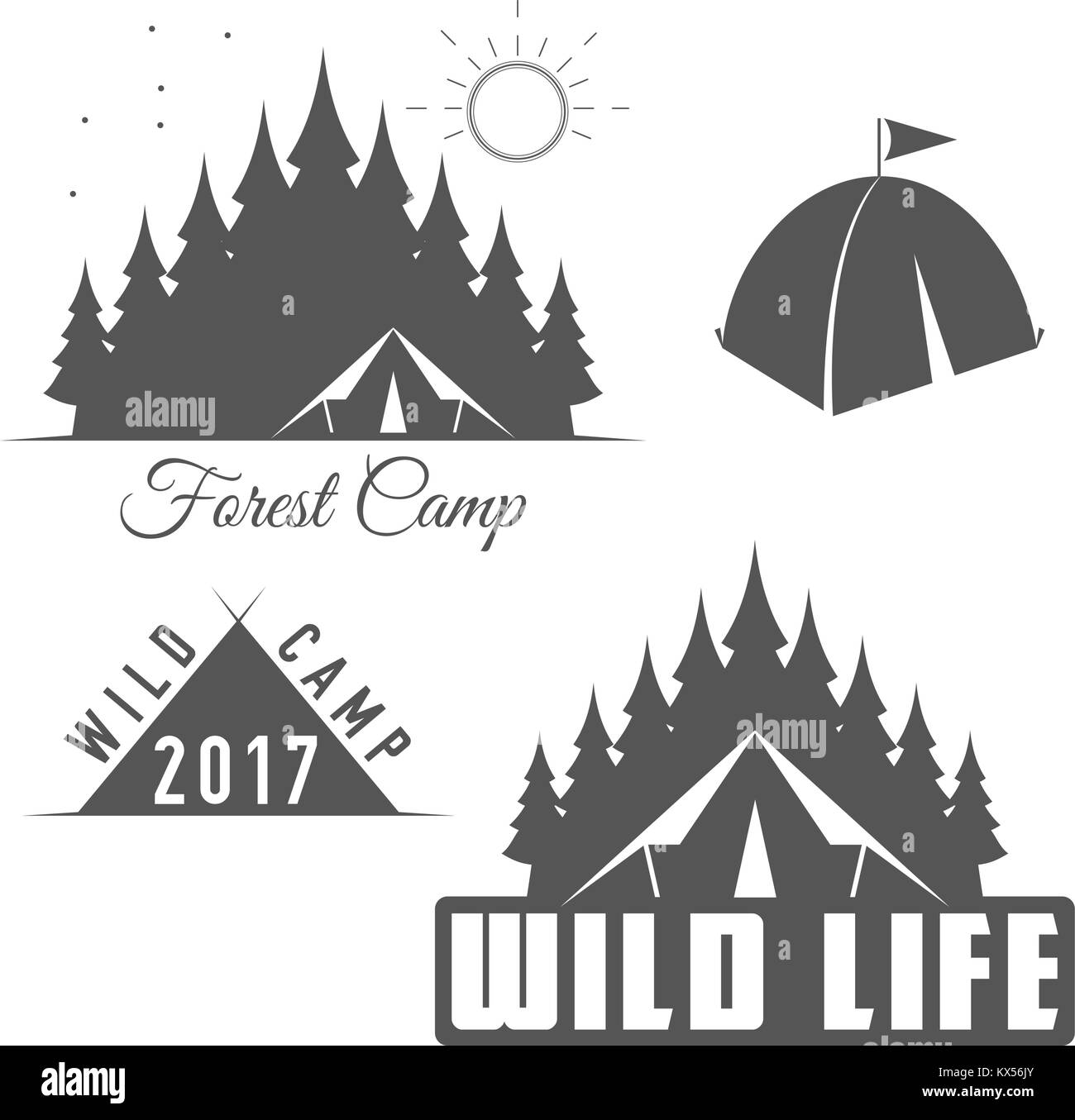 Wild Life - Forest Camp - Scout Club Vector Emblem - Stock Vector