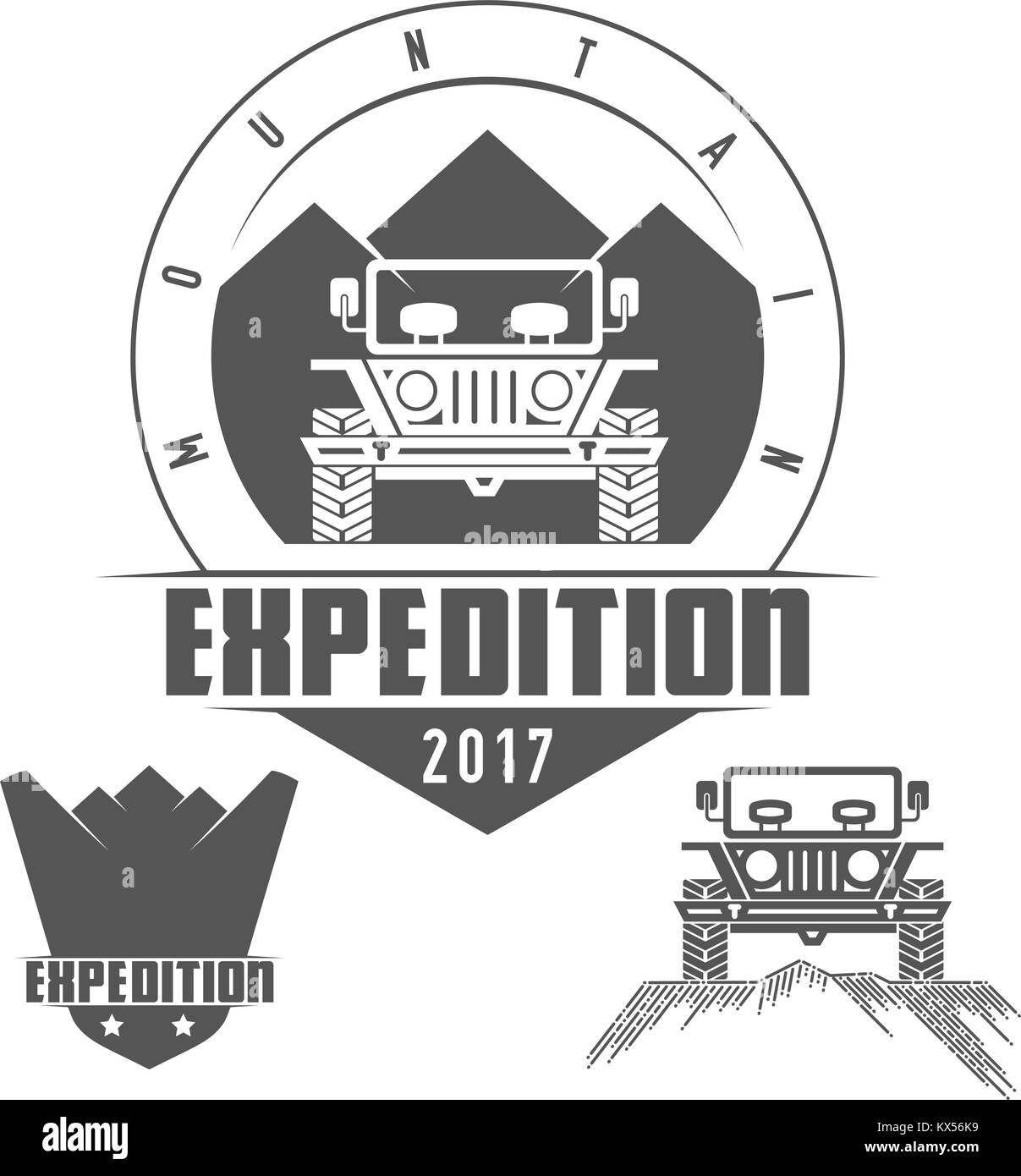 Jeep Tours Safari Expedition Vector Icon Set - Stock Vector