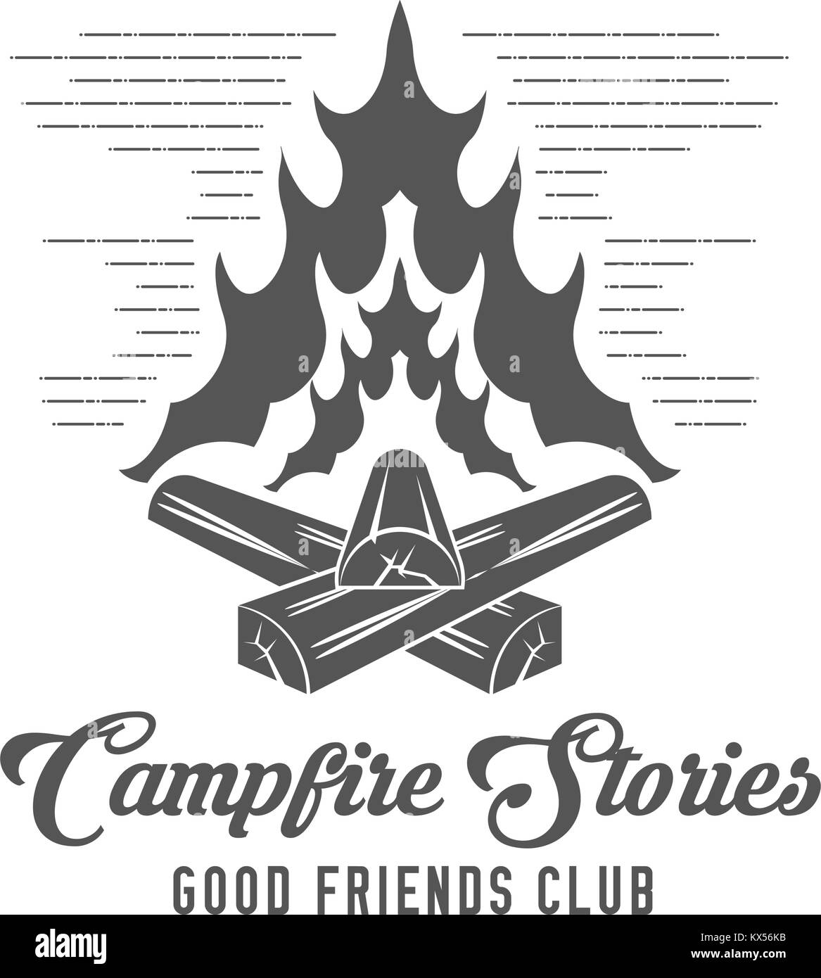 Campfire Stories - Forest Camp - Scout Club Vector Emblem - Stock Vector