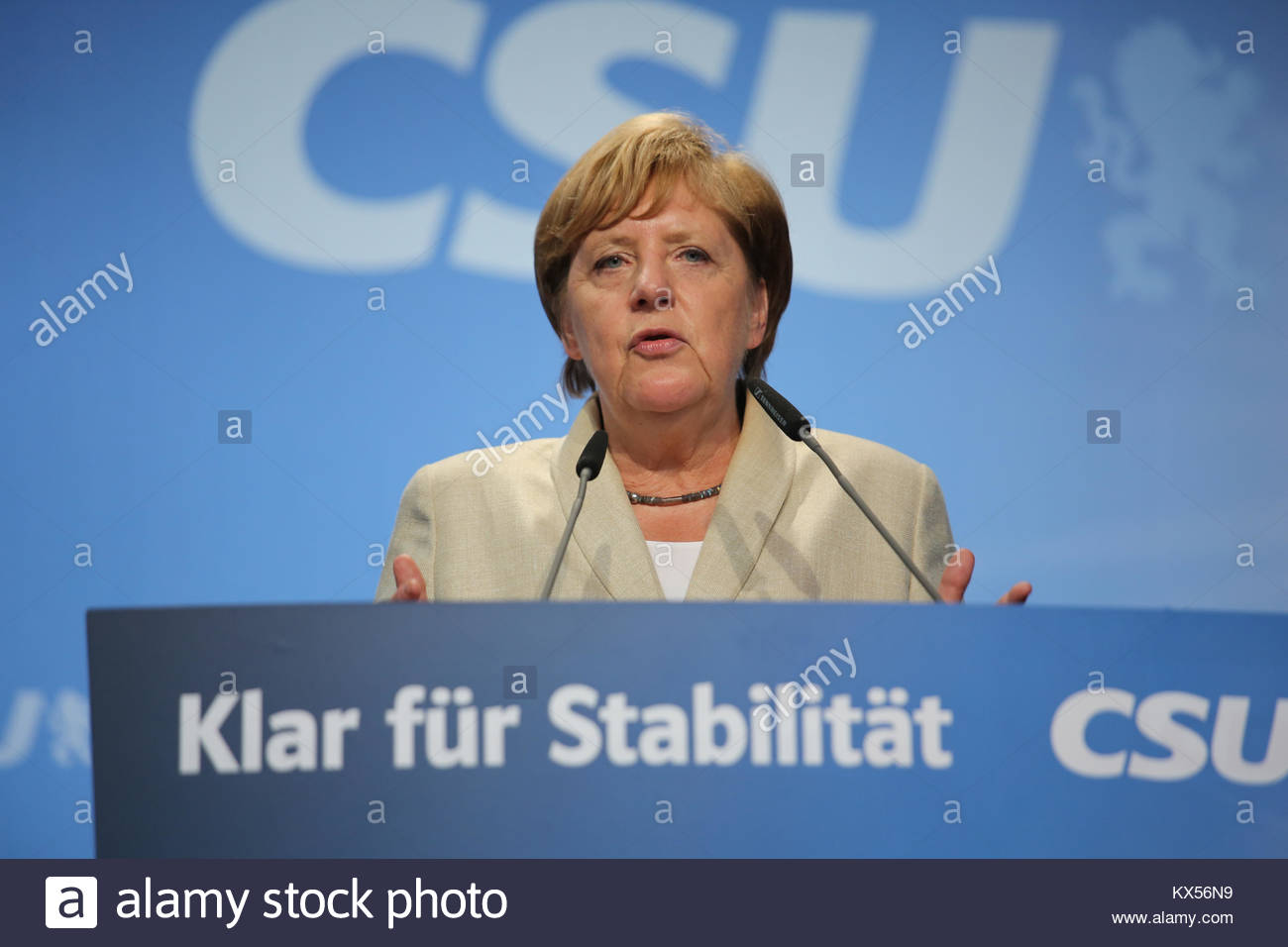 30 August 2017. Erlangen, Germany. Angel Merkel speaks at an election rally held by the CSU party, Bavaria's - Stock Image