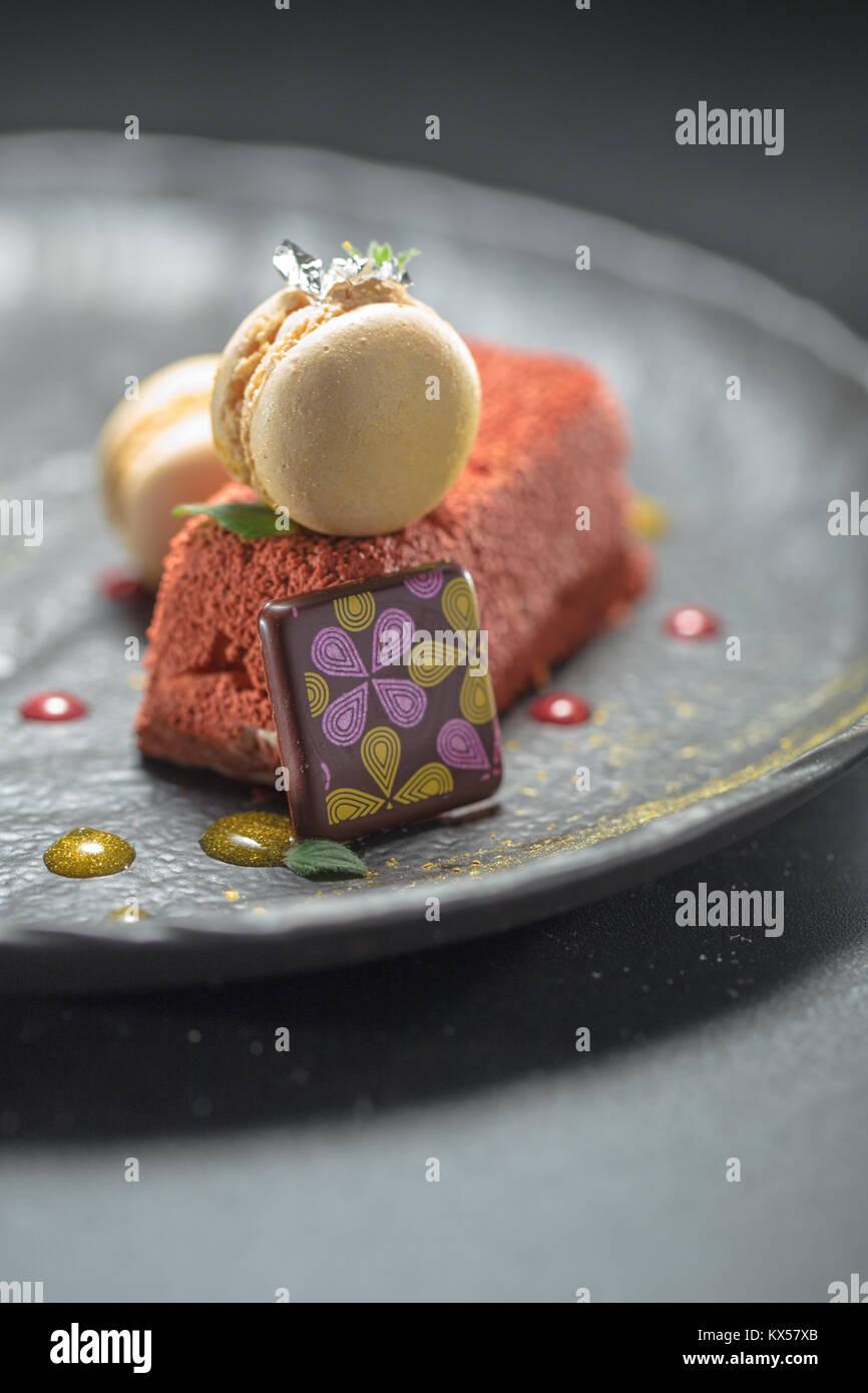 Macarons and chocolate - Stock Image