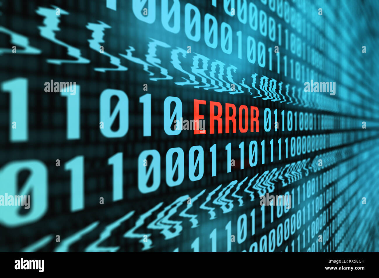 Concept With a Screen Full of Binary Computer Data Glitching into the Word 'Error' in Red - Stock Image