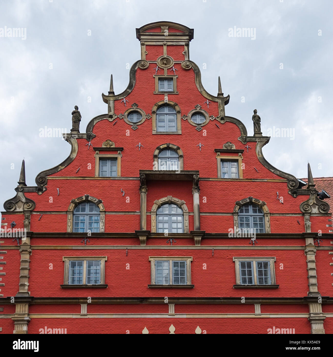 Historical building with tail gable in Wismar - Stock Image