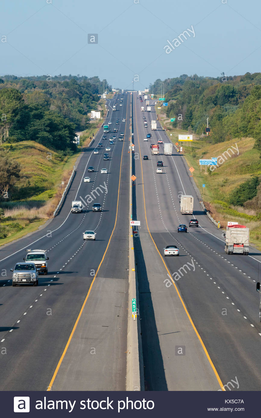 Traffic on freeway superhighway highway 401 road controlled-access highway  autobahn autoroute near Port Hope Ontario Canada Stock Photo - Alamy