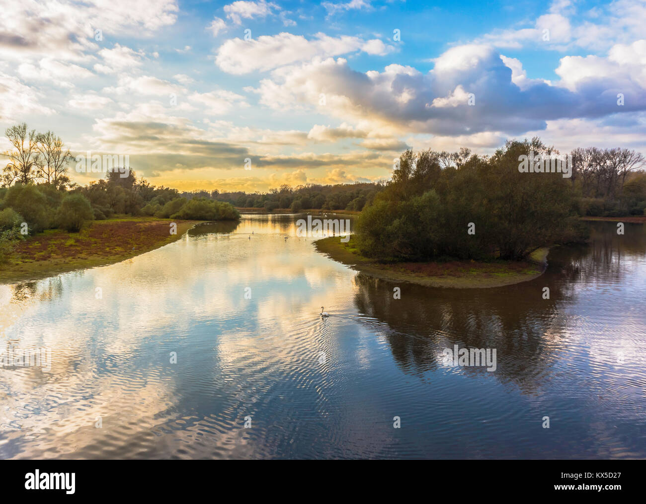 Beautiful landscape of the Sauer Delta nature reserve on late afternoon, Northern Alsace, France, Europe. - Stock Image