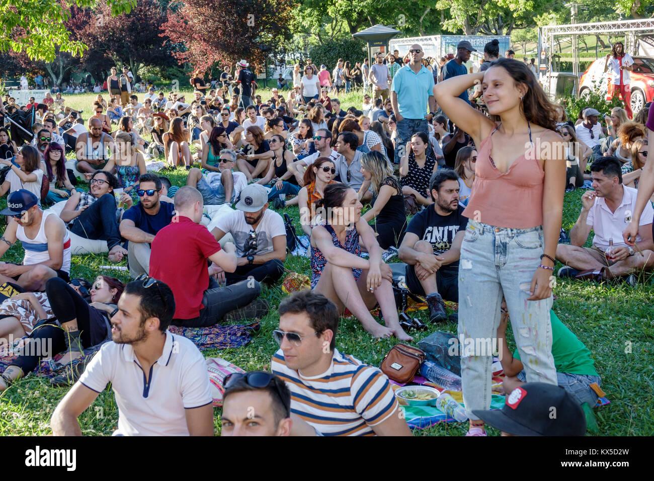 Lisbon Portugal Praca do Marques de Pombal Eduardo VII Park Parque public park Out Jazz summer festival free concert - Stock Image