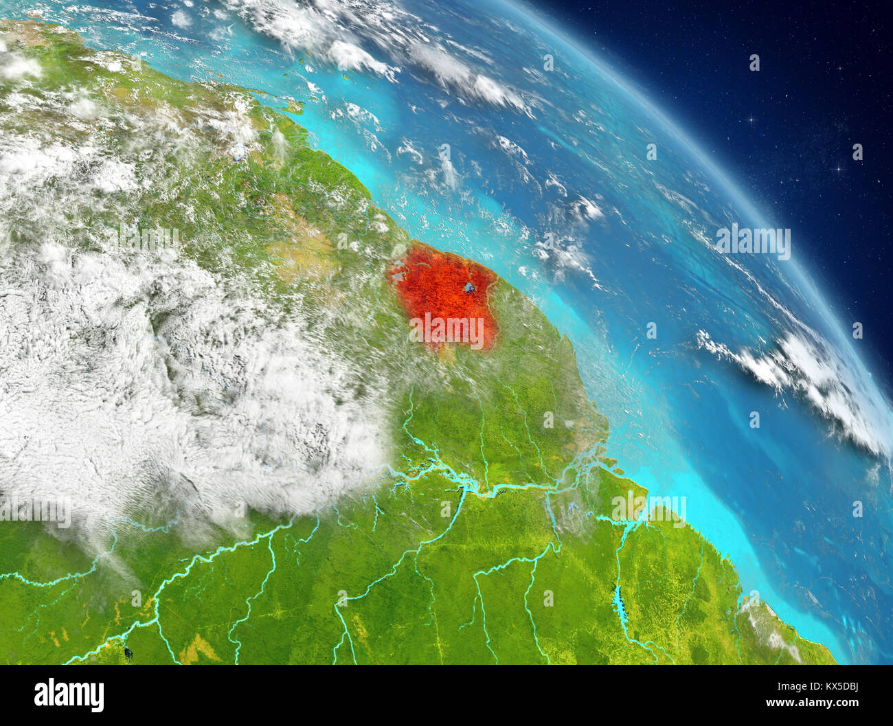Illustration of Suriname as seen from Earth's orbit. 3D illustration. Elements of this image furnished by NASA. - Stock Image