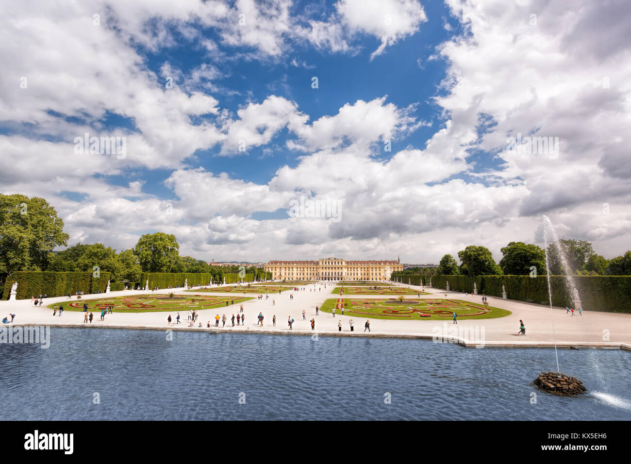 Famous Schonbrunn Palace with lake in the garden, Vienna, Austria Stock Photo