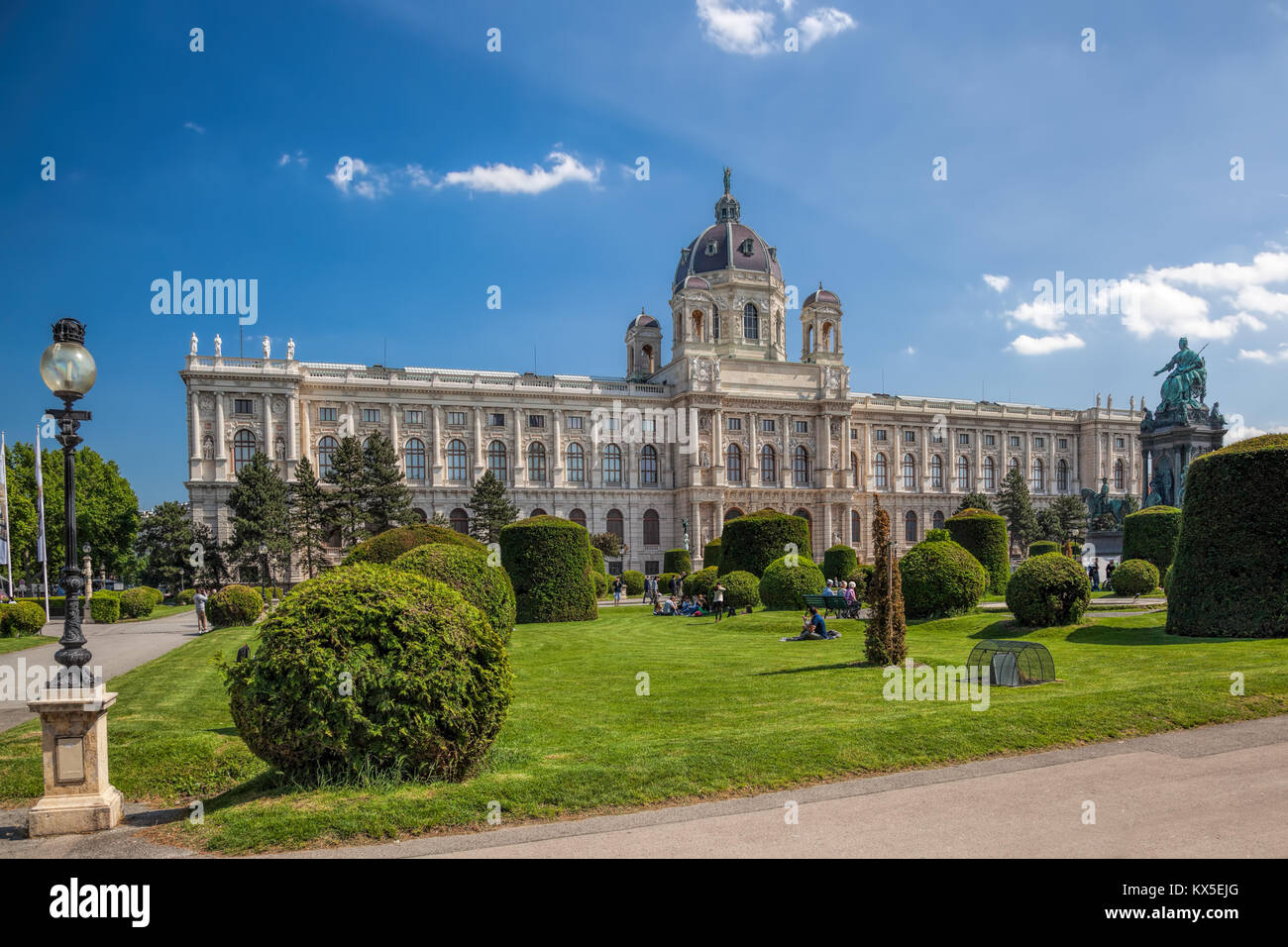 Naturhistorisches Museum (Natural History Museum) with park and sculpture in Vienna, Austria Stock Photo
