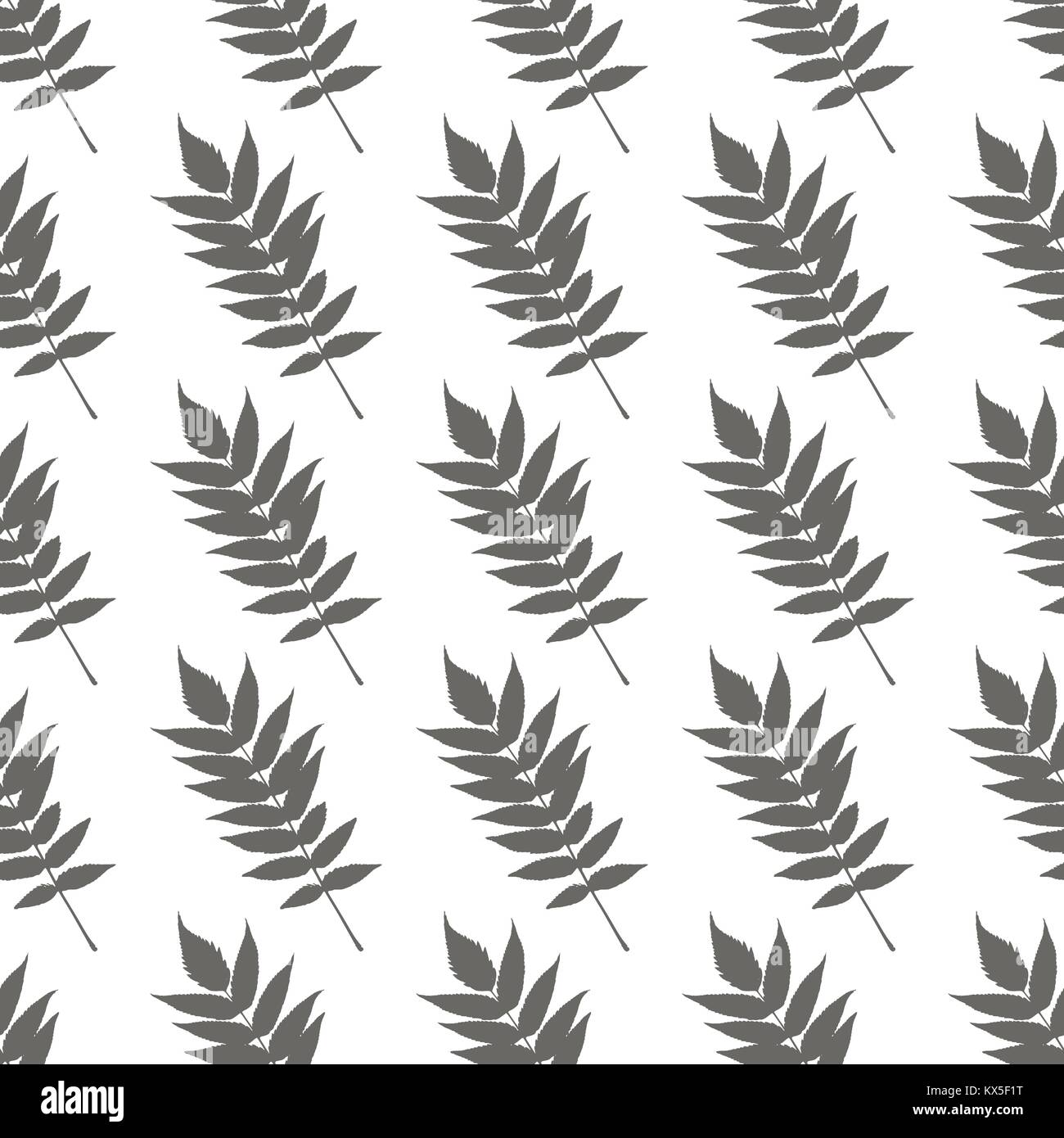 Seamless vector pattern of twig with leaves isolated on white background. - Stock Vector