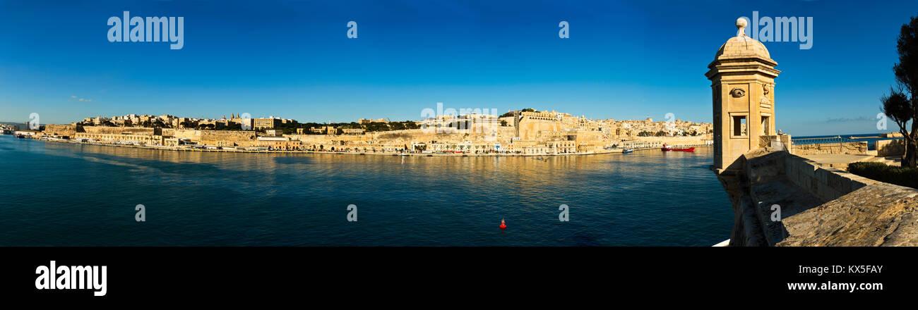 La Guardiola and grand harbour Valletta, european capital of culture in 2018, Malta, Europe Stock Photo