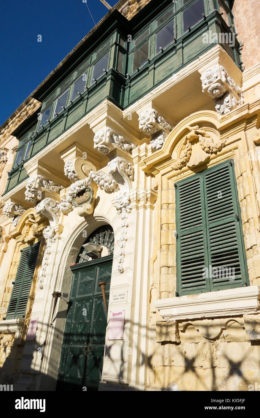 L'Hostel de Verdelin, Michael's restaurant, Archbishop Street, St. Georges Square,  Valletta, european capital - Stock Image