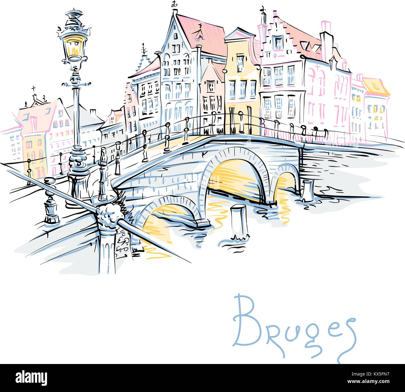 Scenic city view of Bruges canal with beautiful houses - Stock Vector