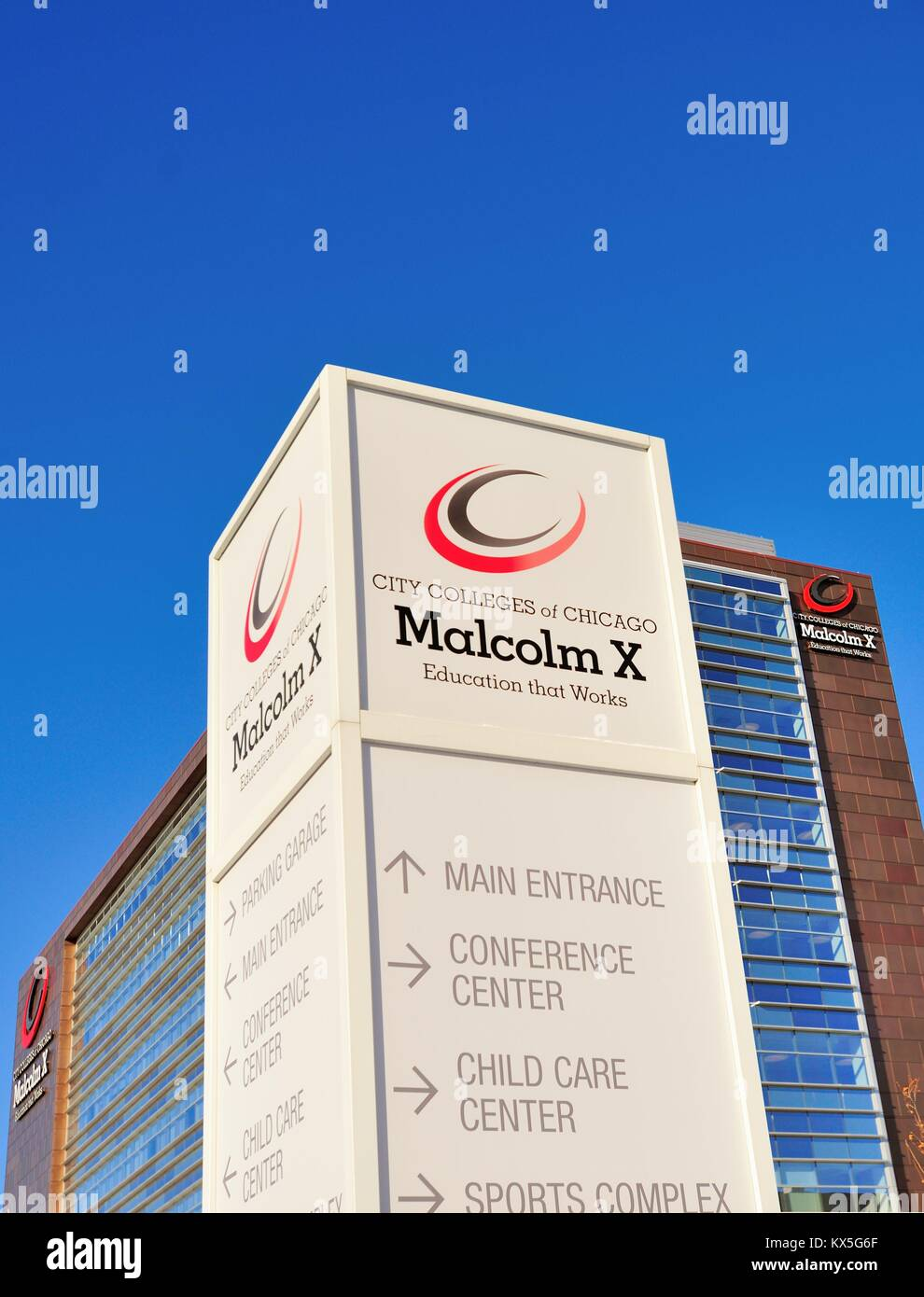 Malcolm X College, one of the City Colleges of Chicago, is a two-year college located west of downtown and the city's - Stock Image