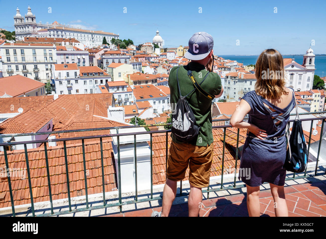 Lisbon Portugal Tagus River Alfama historic neighborhood Miradouro das Portas do Sol observation deck terrace viewpoint - Stock Image