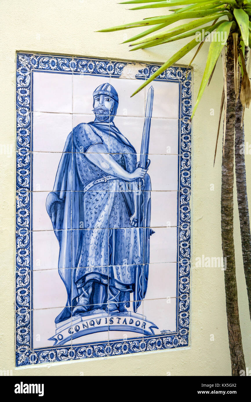 Lisbon Portugal historic center centre wall tiles knight hand painted tiles azulejos Portuguese Europe EU European - Stock Image