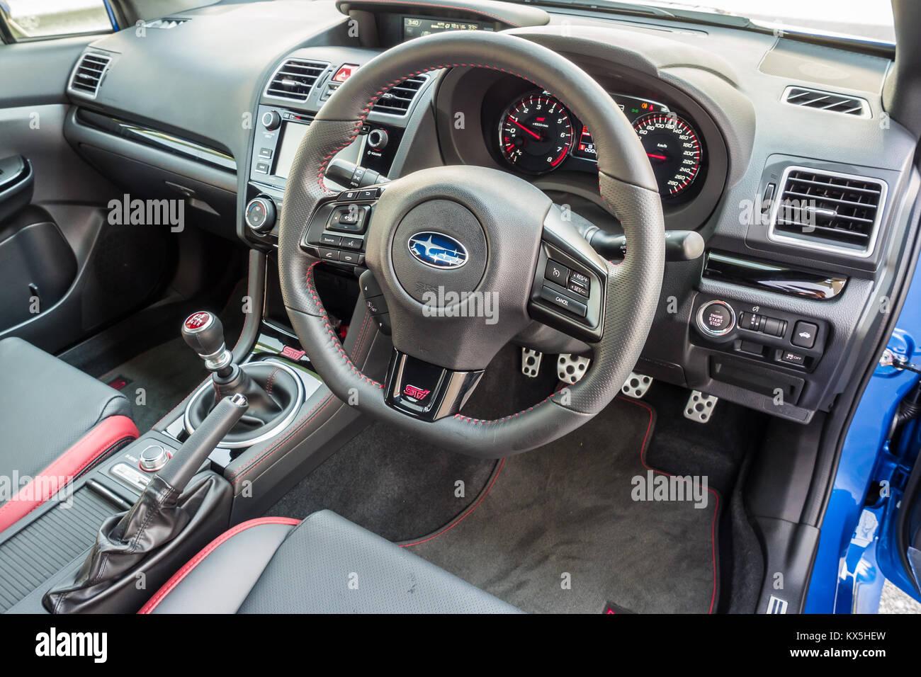 Hong Kong China Sept 11 2017 Subaru Wrx Sti 2017 Interior Sept