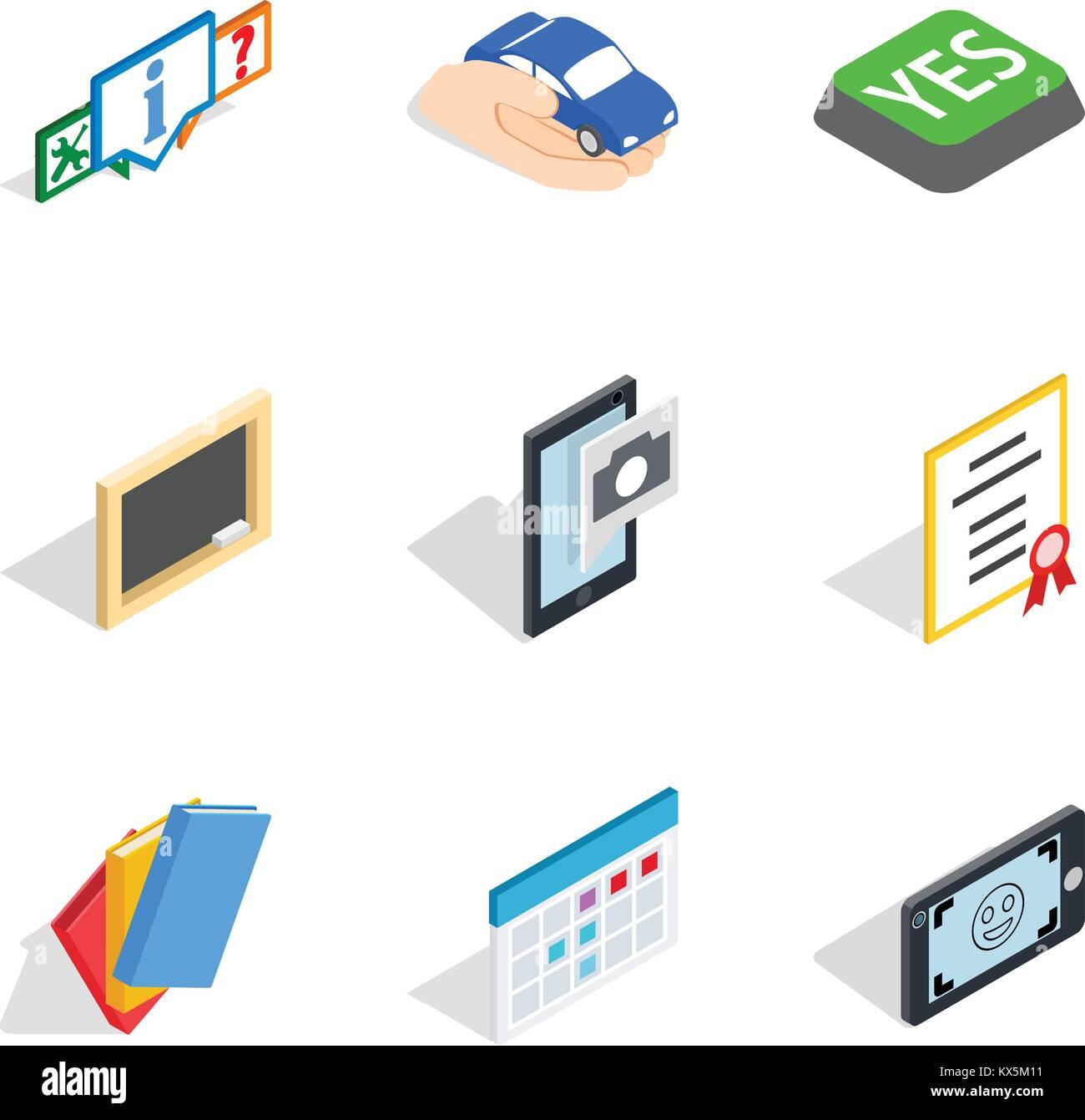 Dangle icons set, isometric style - Stock Image