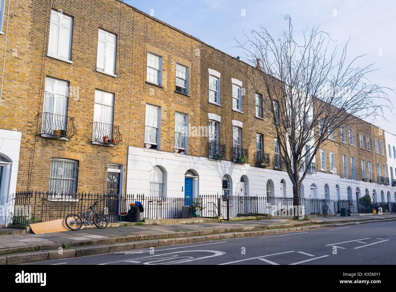 Angel, London, UK - January 2018: Quiet street in Angel, North London with no cars and Edwardian Victorian restored - Stock Image