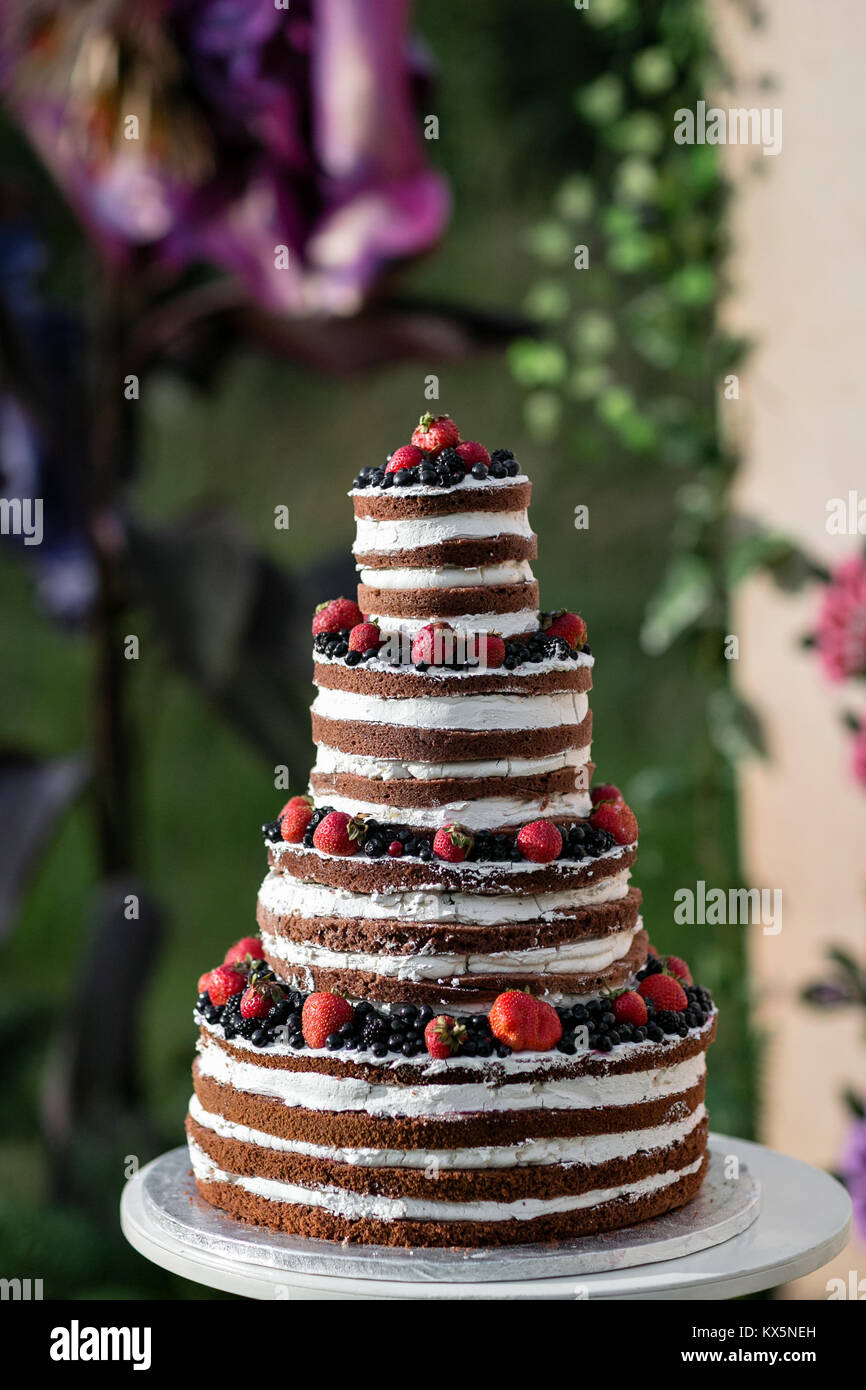 Round multi tiered wedding cake with sponge, cream, jam and berries on a circular base. Fresh blueberries and strawberries - Stock Image