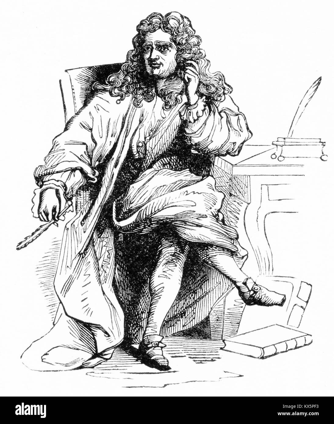 Engraving of Nicolas Boileau (1636 - 1711), French poet, author and contemporary of Jean Racine. - Stock Image