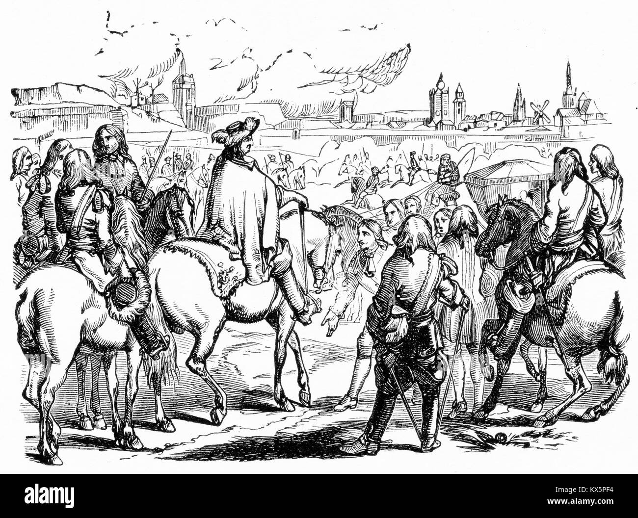 Engraving of Louis XIV of France directing a siege. From Louis XIV, by Jacob Abbott, 1846. - Stock Image