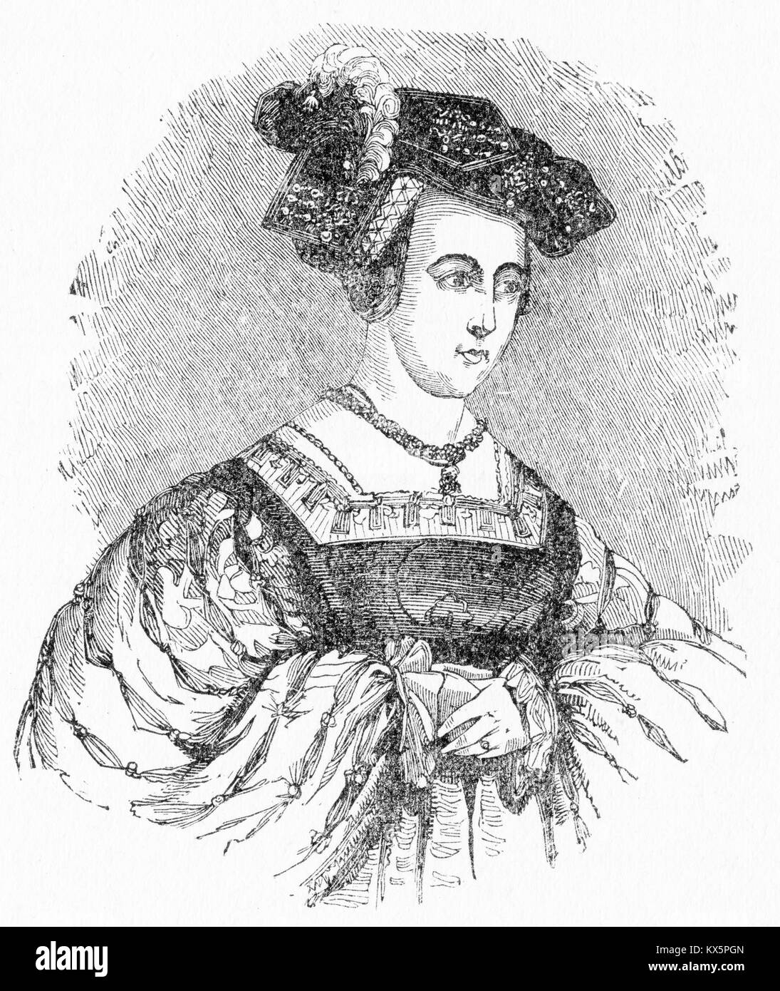 Engraving of Anne Boleyn, second wife to Henry VIII, Tudor King of England. From Elizabeth, by Jacob Abbott, 1846. - Stock Image