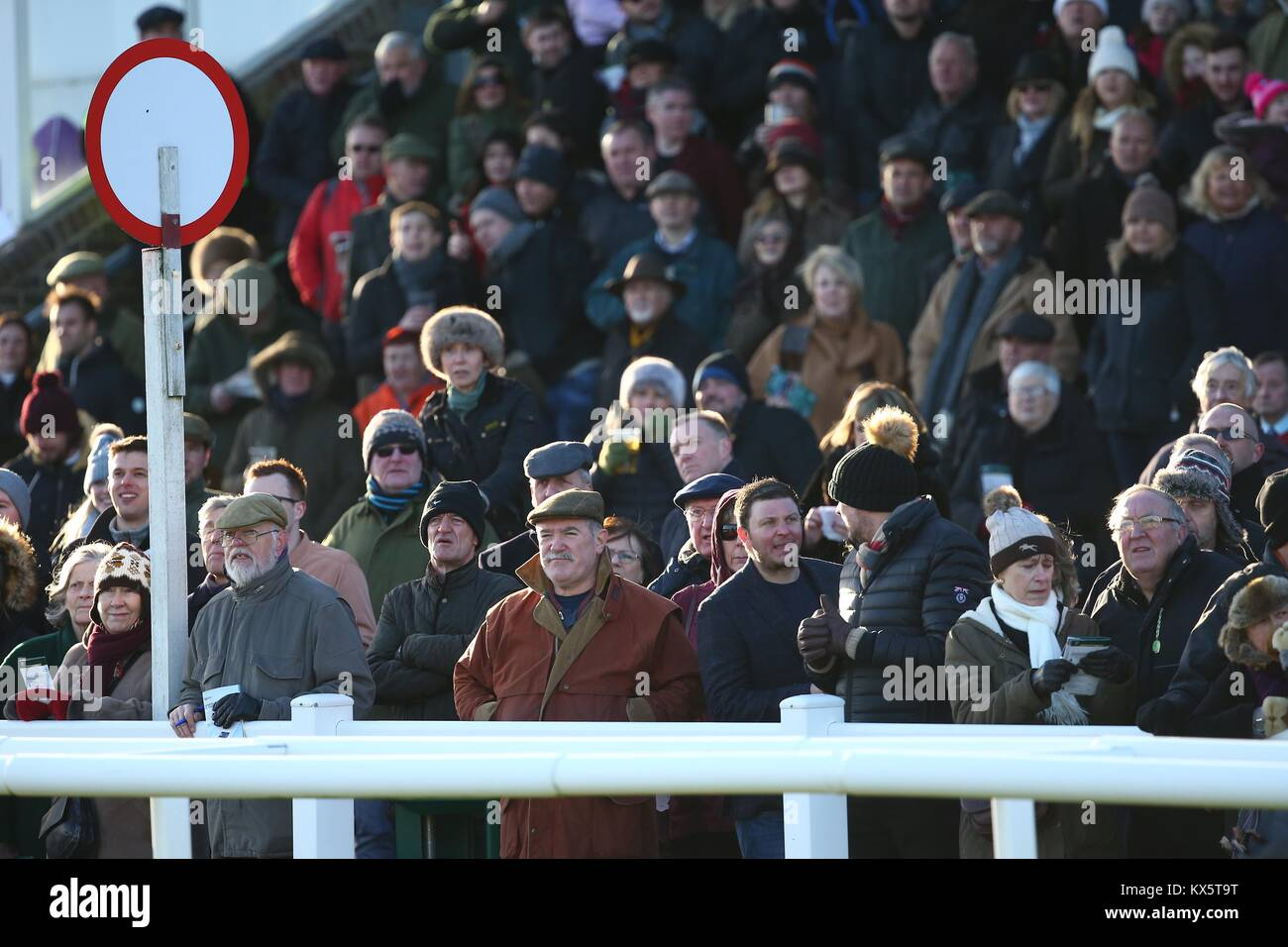 Spectators at the Finish Post at Plumpton Race Course  in Sussex UK. - Stock Image