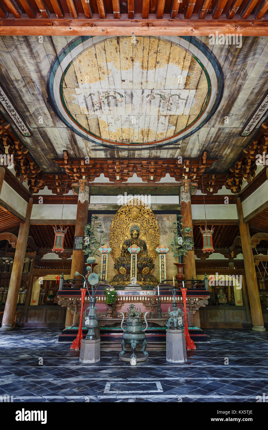 Buddha Statue in the Butsuden Hall (Buddha Hall) at Daitoku-ji Temple in Kyoto, Japan  KYOTO, JAPAN - OCTOBER 22: - Stock Image