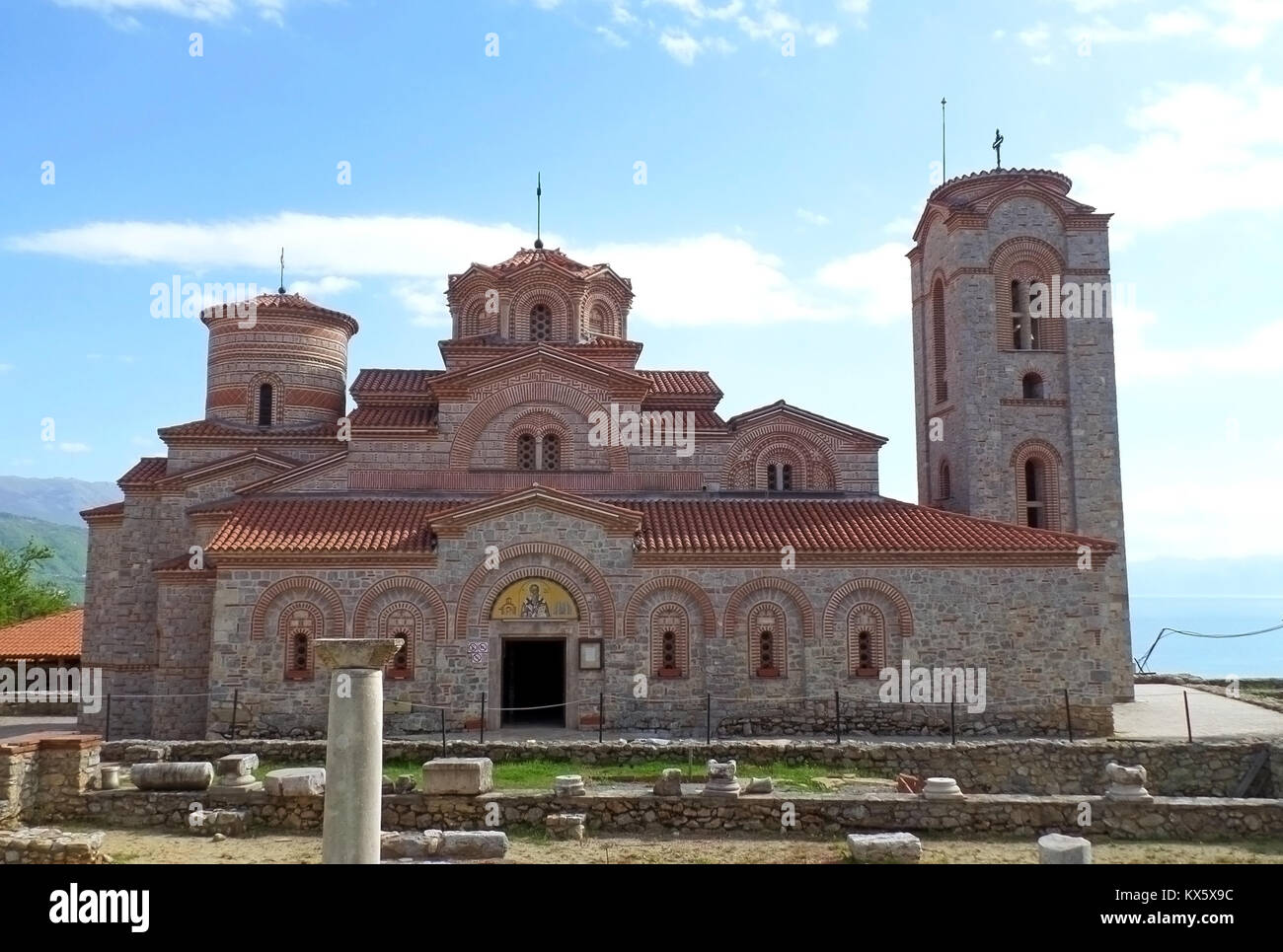 Impressive St. Clement's Church at the Plaosnik archaeological site of Ohrid, Macedonia Stock Photo