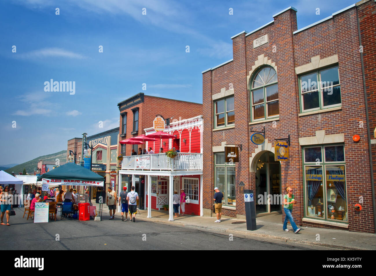 PARK CITY, UTAH - AUGUST 08: Tourists in the main street of Park City in summer, in Park City on August 08, 2012. - Stock Image