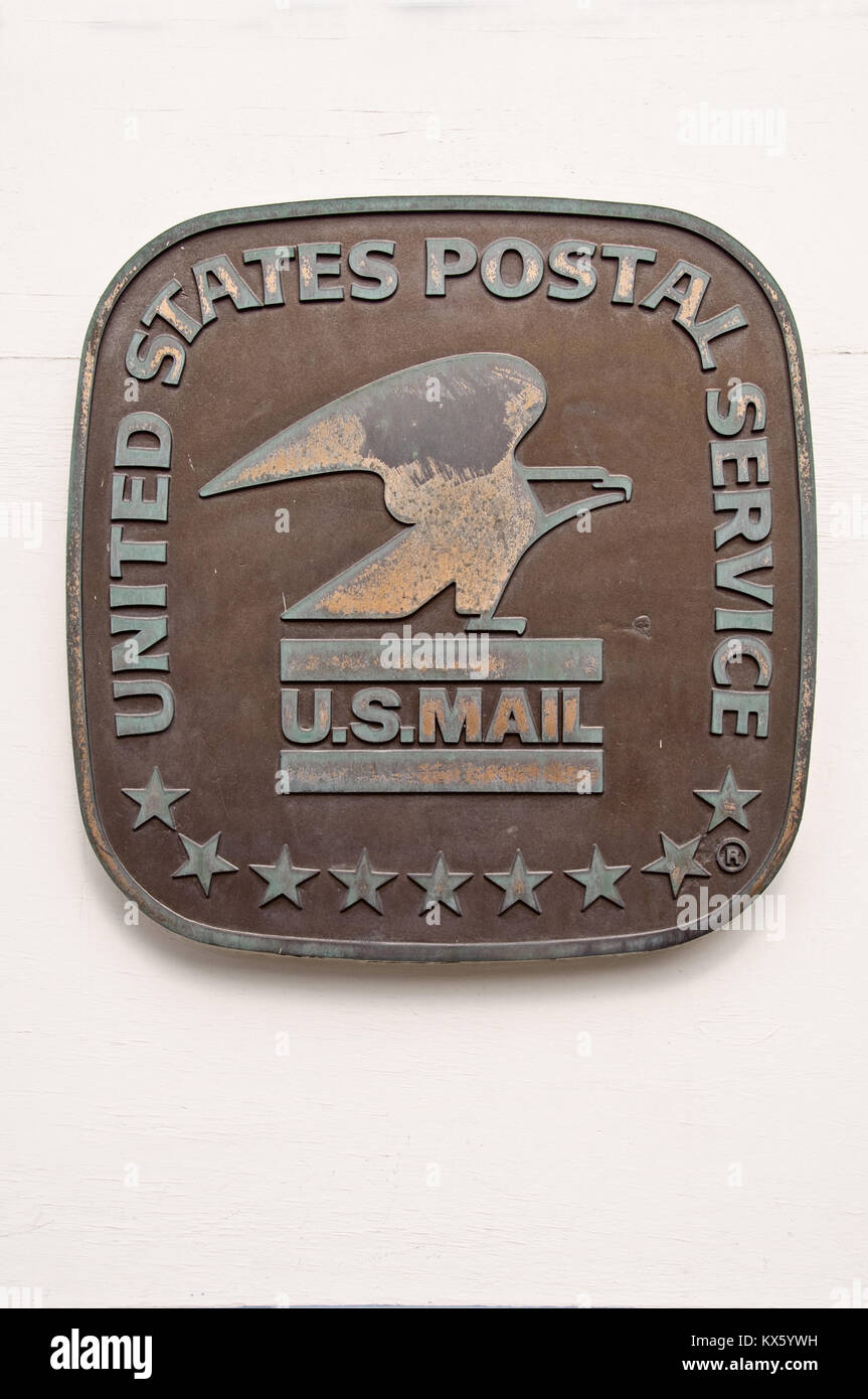 PARK CITY, UTAH - AUGUST 08: United states postal service (USPS) metallic sign on a wall, in Park City, on August - Stock Image