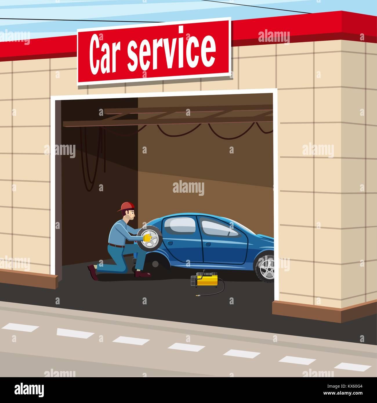 Cartoon car auto repair garage stock photos cartoon car for Garage concept auto