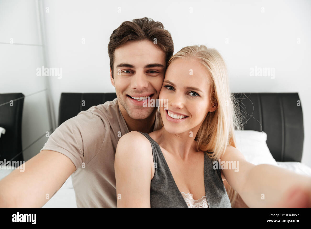 Young Couple Making Love Bed Stock Photos  Young Couple Making Love Bed Stock Images -4806