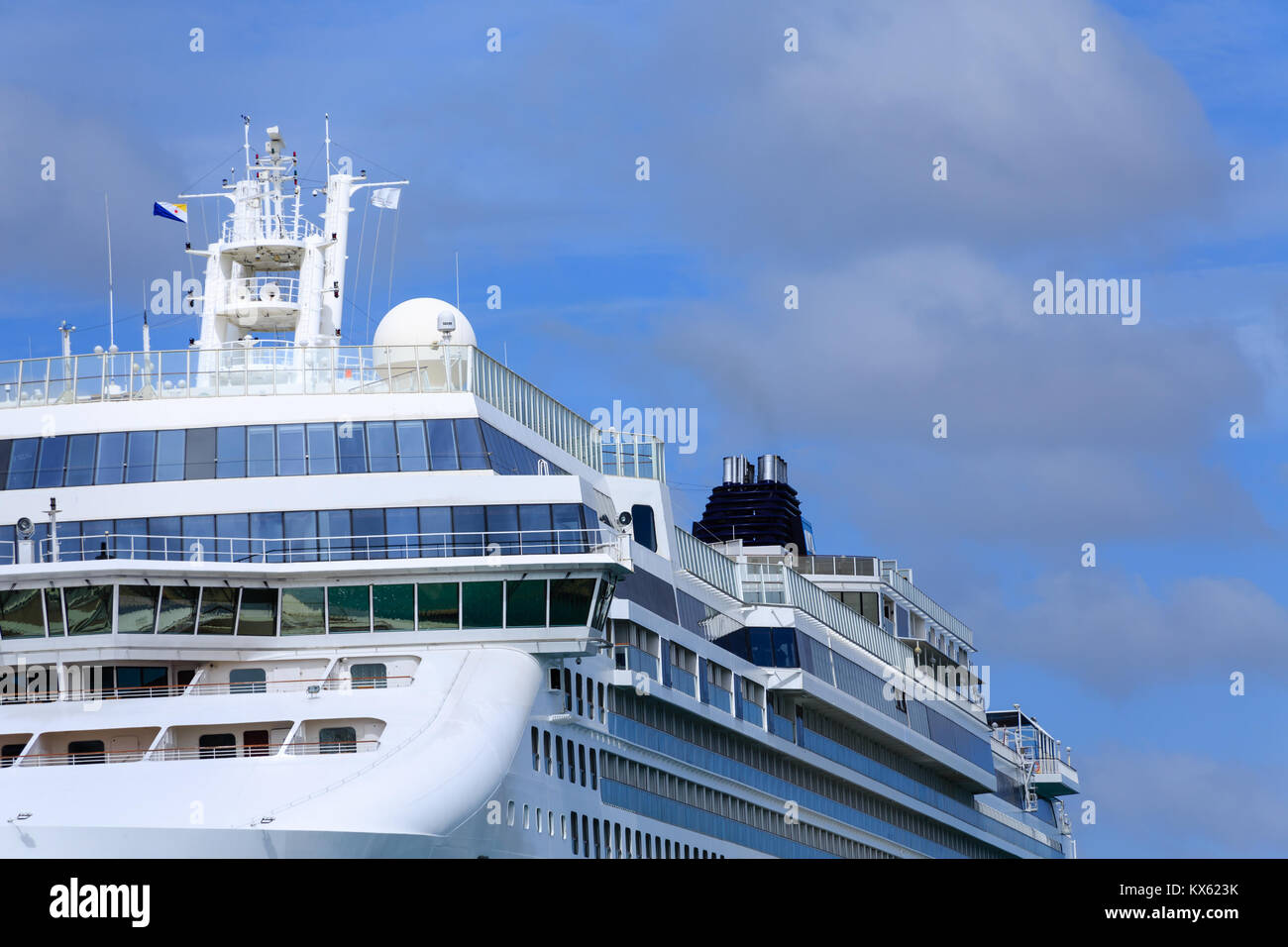 View of Upper Decks of Luxury Cruise Ship Stock Photo