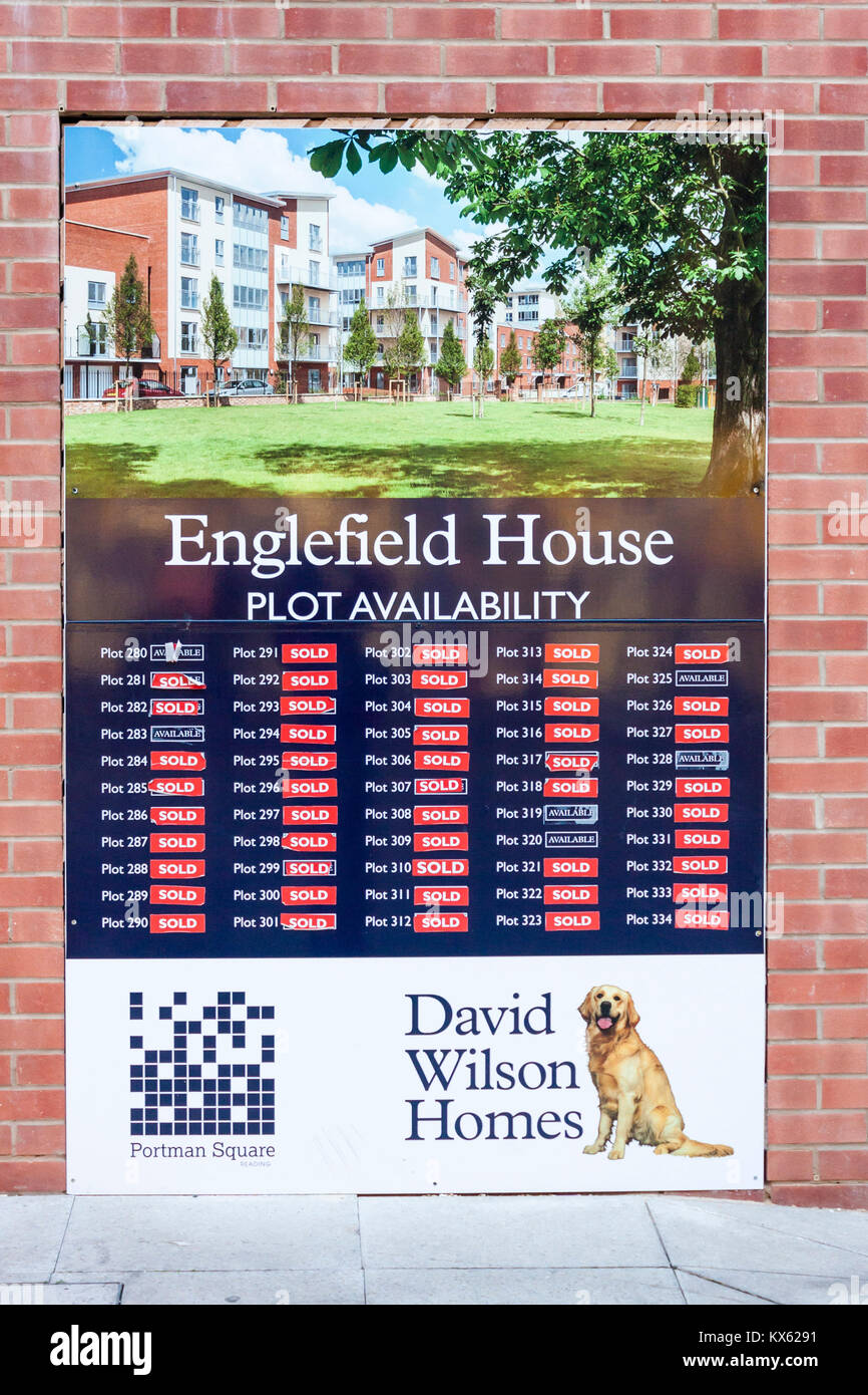 Plot availability sign for new housing development by David Wilson Homes in Reading, Berkshire, England, GB, UK - Stock Image