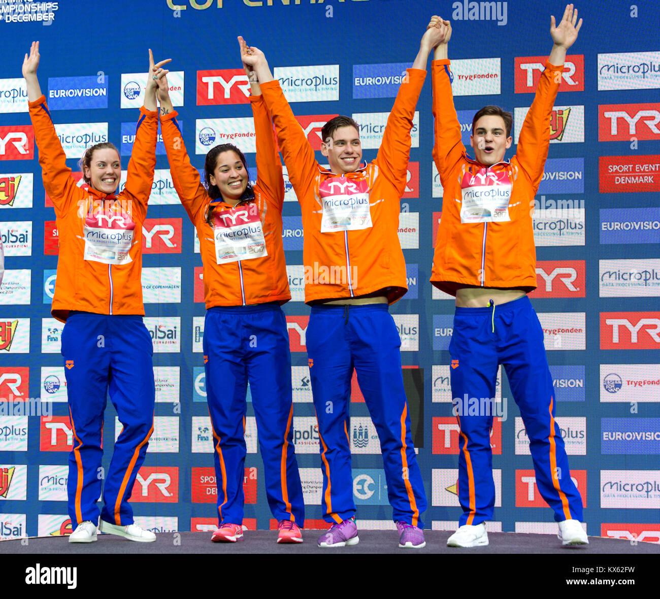 Femke HEEMSKERK, Ranomi KROMOWIDJOJO, Kyle STOLK Nyls,  KORSTANJE NED  gold  Medal  4x100 Freestyle Mixed Relay - Stock Image